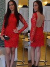 Long Sleeves Scoop Neck New Style Red Lace Tulle Short/Mini Prom Dress #Favs02019758