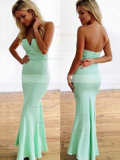 Trumpet/Mermaid Strapless Ankle-length Jersey Prom Dresses with Ruffle #Favs020104418