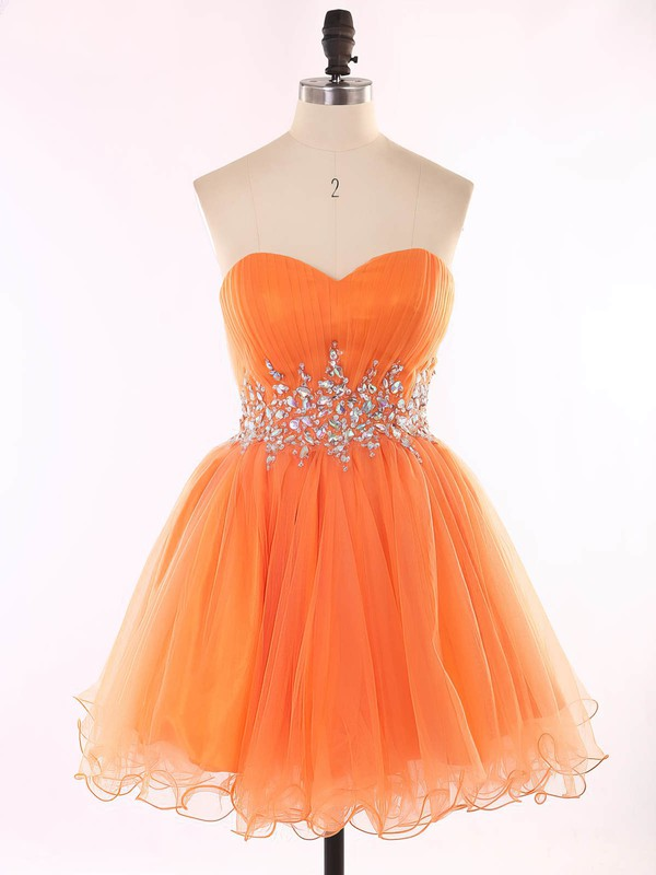 Girls Orange Sweetheart Organza Beading Short/Mini Prom Dresses #Favs020101625