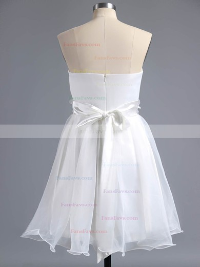 A-line Sweetheart Short/Mini Organza Prom Dresses with Sashes Flowers #Favs02013244