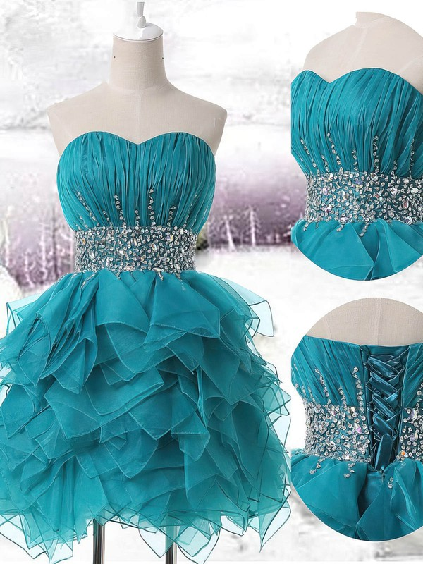 Short/Mini Dark Green Organza Beading Sweetheart Prom Dress #Favs02019707