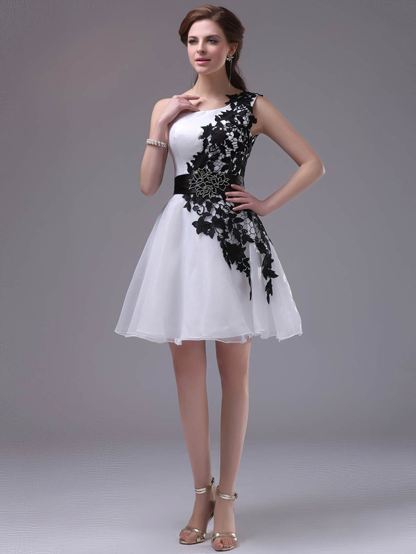One Shoulder Short/Mini Inexpensive Organza with Black Appliques Prom Dress #Favs02042244