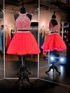 A-line Scoop Neck Short/Mini Organza Tulle Prom Dresses with Beading #Favs020102528