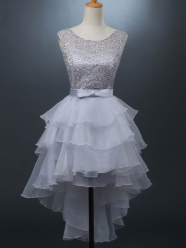 A-line Scoop Neck Organza Tulle Asymmetrical Sashes / Ribbons Prom Dresses #Favs020105380