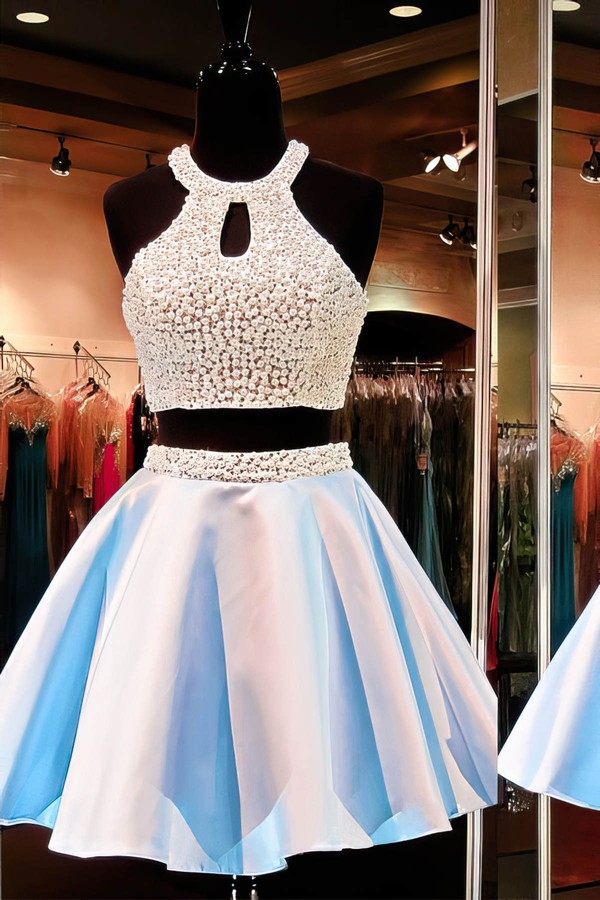 Online A-line Scoop Neck Satin Short/Mini Pearl Detailing Two Piece Prom Dresses #Favs020102471