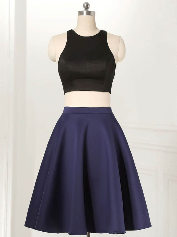 A-line Scoop Neck Satin Knee-length Ruffles New Style Two Piece Homecoming Dresses #Favs020102538