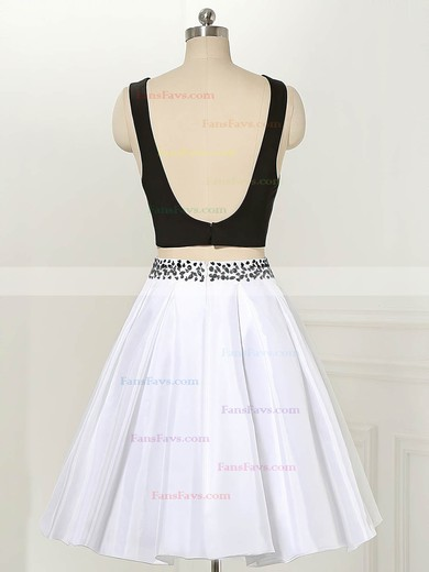 Simple A-line Scoop Neck Satin Short/Mini Beading Two Piece Backless Prom Dresses #Favs020103012