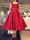 Ball Gown Square Neckline Satin Tea-length Bow Prom Dresses #Favs020103061