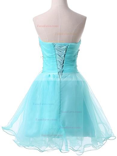 A-line Sweetheart Satin Organza Short/Mini Beading Homecoming Dresses #Favs02051736