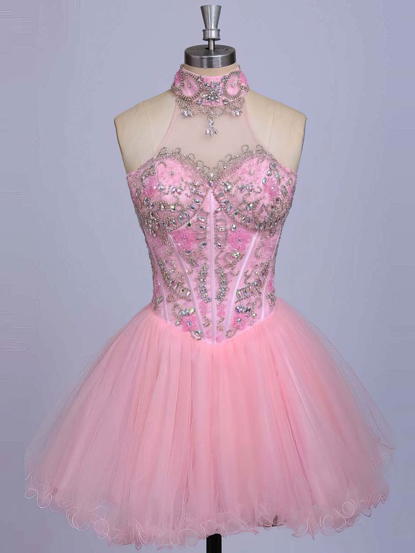 A-line High Neck Short/Mini Satin Tulle Prom Dresses with Beading #Favs020101623