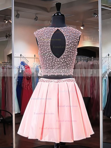 Pretty A-line Scoop Neck Satin Tulle Short/Mini Crystal Detailing Two Piece Prom Dresses #Favs020102480
