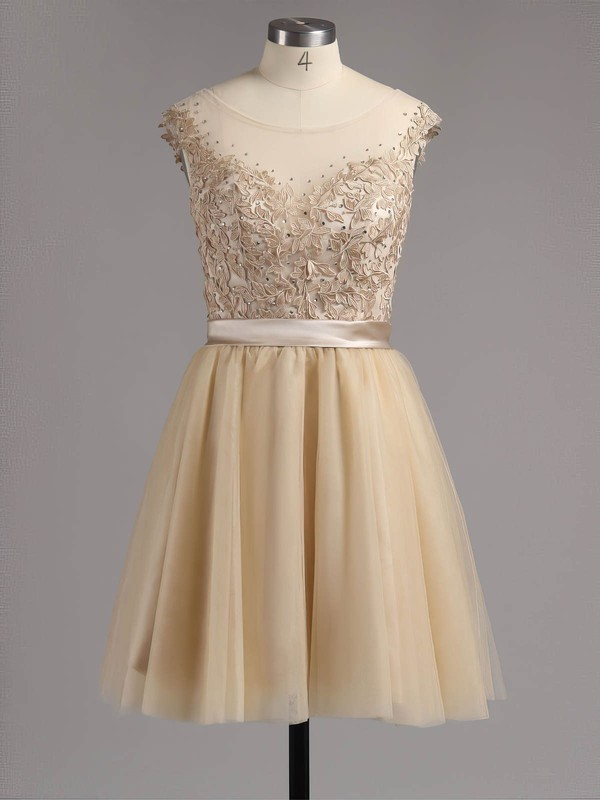 A-line Scoop Neck Short/Mini Satin Tulle Prom Dresses with Appliques Lace #Favs02016005