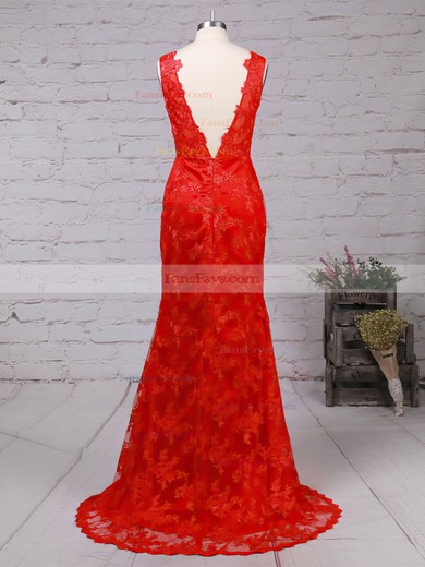 Trumpet/Mermaid V-neck Sweep Train Lace Prom Dresses with Appliques Lace #Favs02014905