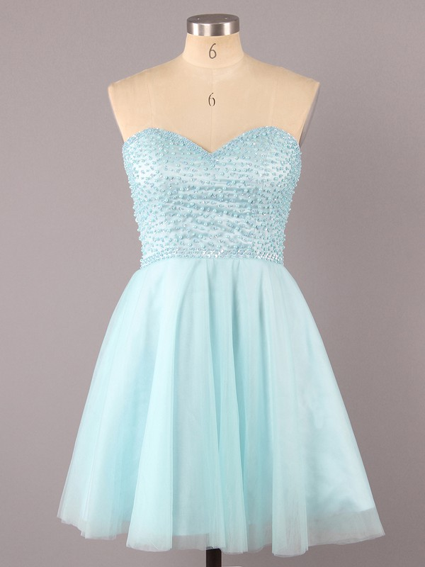 A-line Sweetheart Short/Mini Satin Tulle Prom Dresses with Pearl Detailing #Favs02016340