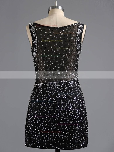 Sheath/Column V-neck Satin Tulle Short/Mini Beading Homecoming Dresses #Favs02017081