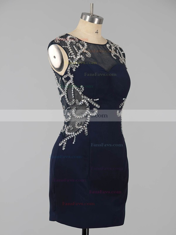 Dark Navy Sheath/Column Scoop Neck Silk-like Satin Short/Mini Beading Open Back Homecoming Dresses #Favs020101761