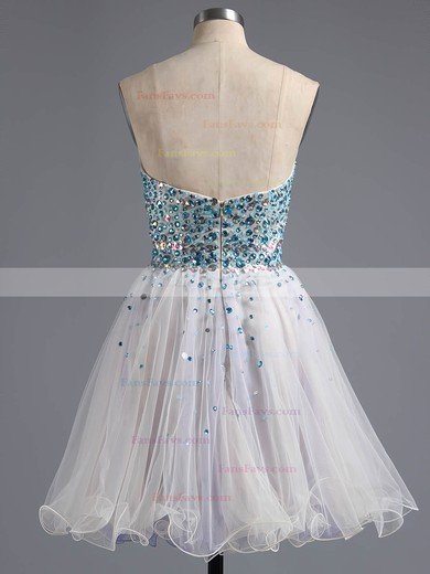 A-line Sweetheart Tulle Crystal Detailing Short/Mini Sparkly Homecoming Dresses #Favs020100672