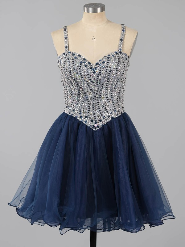 A-line Sweetheart Short/Mini Tulle Prom Dresses with Beading Ruffle #Favs020101149