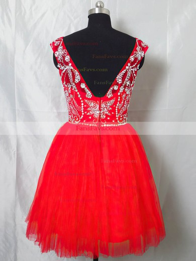 Short/Mini Scoop Neck Tulle Beading Open Back Red Prom Dresses #Favs020101404