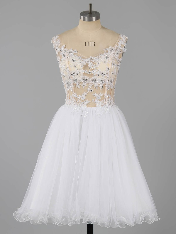 A-line Off-the-shoulder Short/Mini Tulle Prom Dresses with Appliques Lace Beading #Favs020101466