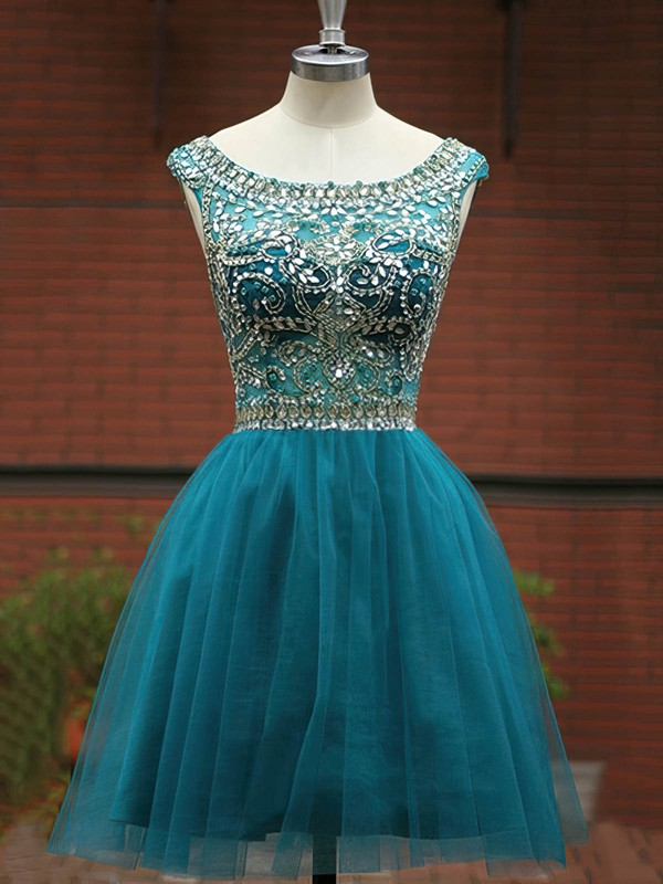 Classic Scoop Neck Tulle with Beading Short/Mini Prom Dress #Favs020101492