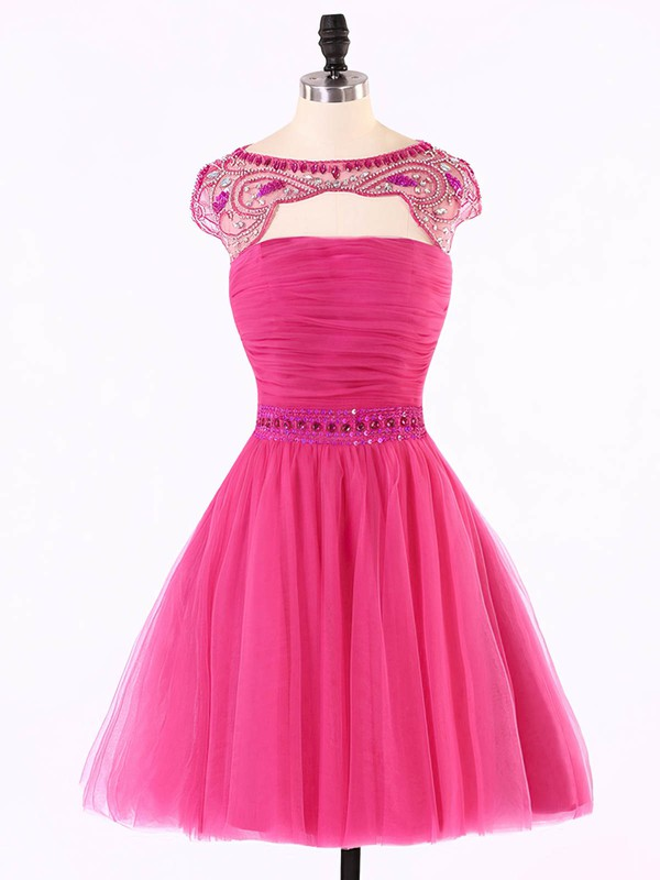 Scoop Neck Cap Straps Tulle with Beading Open Back Short/Mini Prom Dresses #Favs020101624