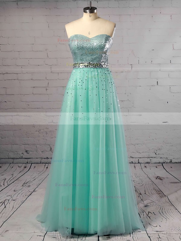 Princess Sweetheart Tulle Sweep Train Crystal Detailing Prom Dresses #Favs02016059