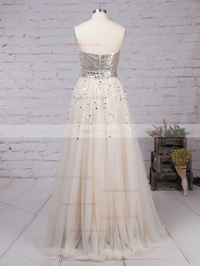 Princess Sweetheart Sweep Train Tulle Sequined Prom Dresses with Sequins #Favs02016059