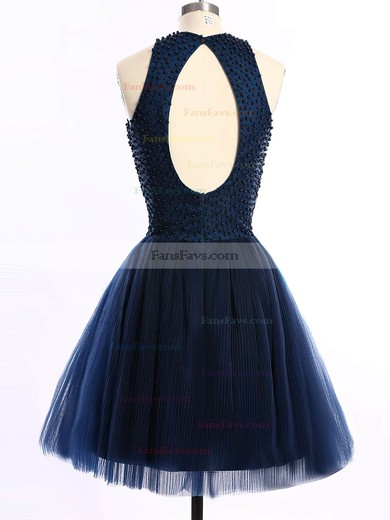 A-line Scoop Neck Short/Mini Tulle Prom Dresses with Pearl Detailing #Favs020101654