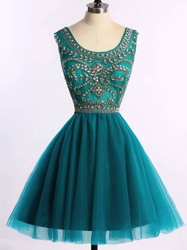 A-line Scoop Neck Short/Mini Tulle Prom Dresses with Beading #Favs020101675