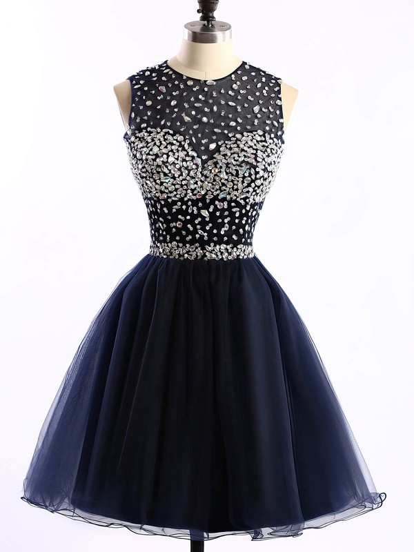 Short/Mini Scoop Neck Dark Navy Tulle Crystal Detailing Open Back Prom Dress #Favs020101677