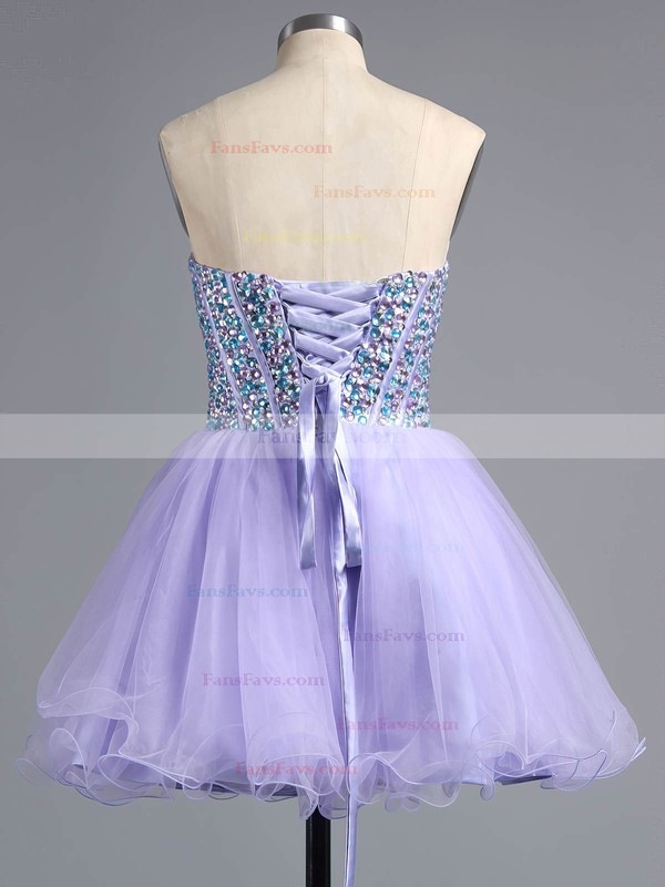 A-line Sweetheart Tulle Short/Mini Beading Wholesale Homecoming Dresses #Favs020101758