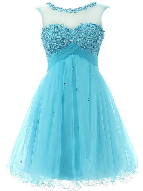 A-line Scoop Neck Tulle Short/Mini Beading New Arrival Homecoming Dresses #Favs020101797