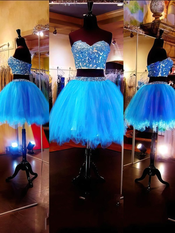 Ball Gown Sweetheart Short/Mini Tulle Prom Dresses with Appliques Lace Beading #Favs020101803