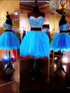Two-pieces Sweetheart Tulle Short/Mini Beading Blue Prom Dresses #Favs020101803