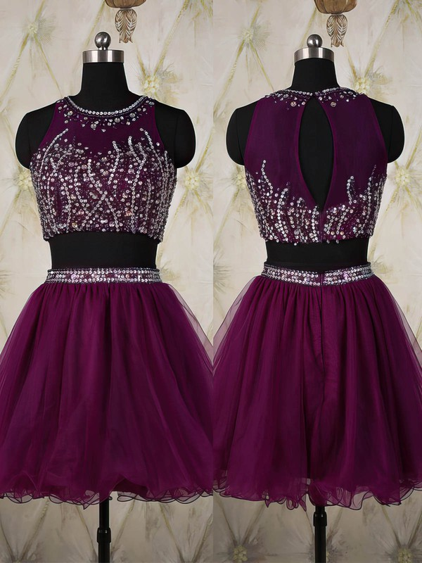A-line Scoop Neck Short/Mini Tulle Prom Dresses with Sequins #Favs020101820