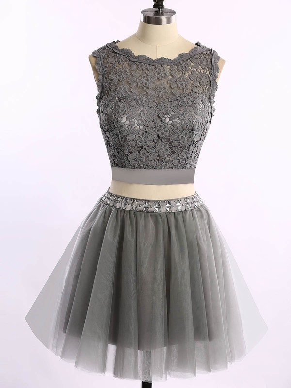 A-line Scoop Neck Short/Mini Tulle Prom Dresses with Lace Beading #Favs020101868