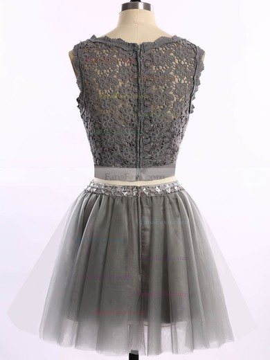 Pretty Short/Mini Scoop Neck Tulle Lace with Beading Two Pieces Prom Dress #Favs020101868