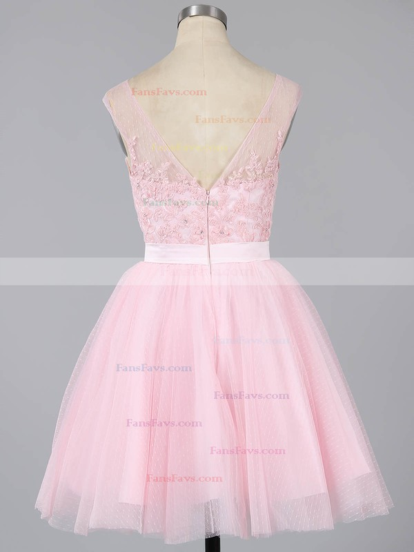 A-line Scoop Neck Short/Mini Tulle Prom Dresses with Appliques Lace #Favs020101913