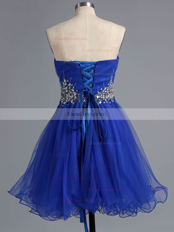 Famous A-line Sweetheart Tulle Short/Mini Crystal Detailing Royal Blue Homecoming Dresses #Favs020101916