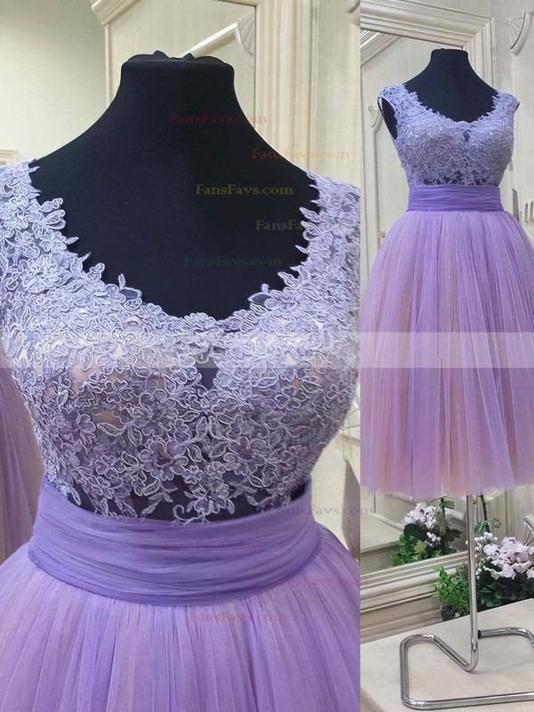 A-line V-neck Short/Mini Tulle Prom Dresses with Appliques Lace Ruffle #Favs020102036