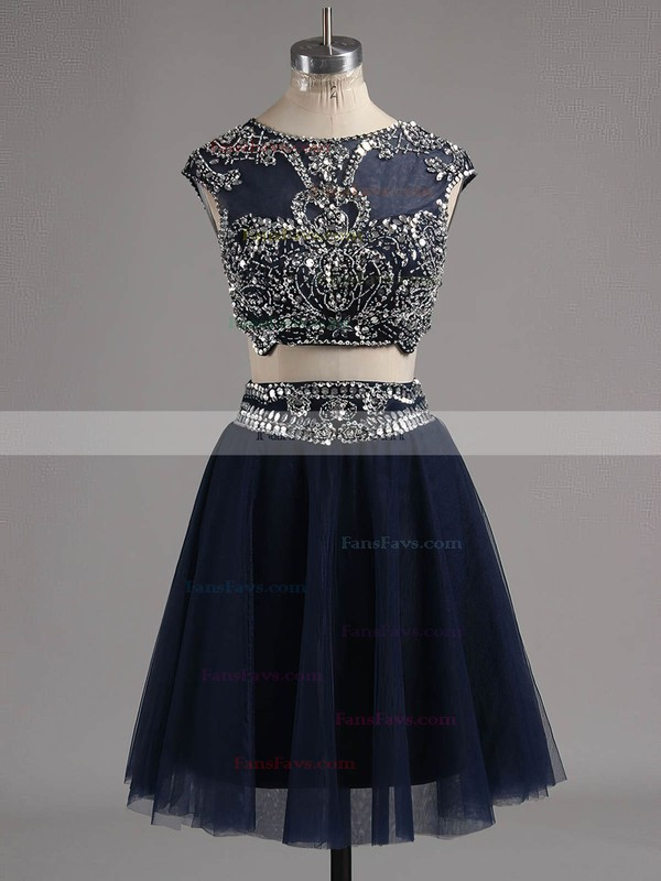 A-line Scoop Neck Short/Mini Tulle Prom Dresses with Beading #Favs020102039
