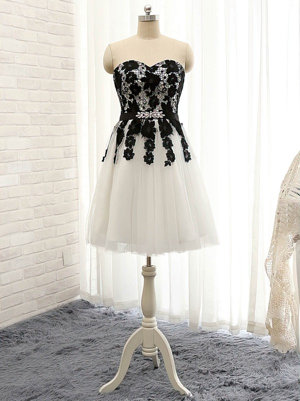 Pretty White Sweetheart Tulle Appliques Lace Short/Mini Prom Dresses #Favs020102148