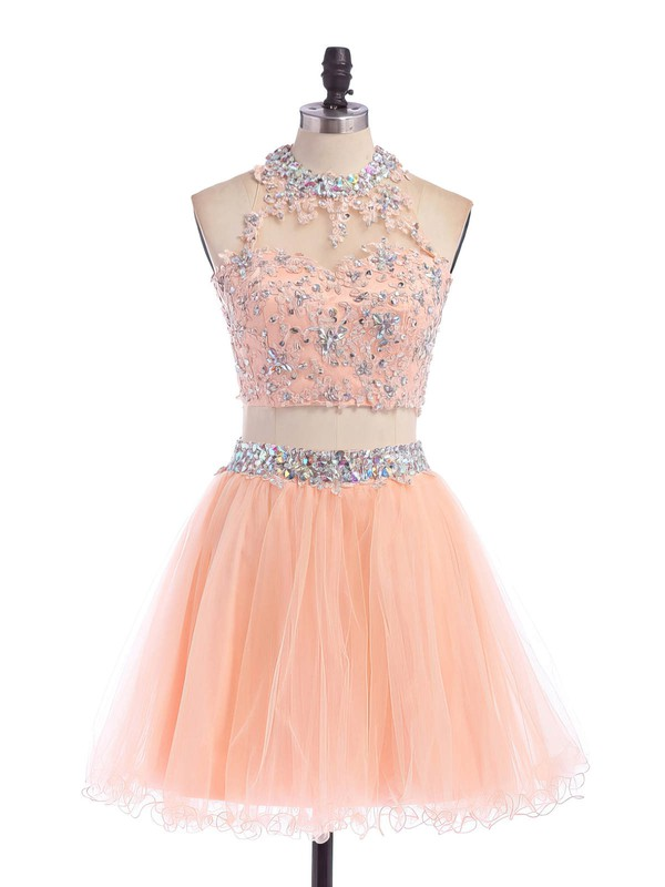 Two Piece Scoop Neck Open Back Tulle Appliques Lace Short/Mini Prom Dress #Favs020102152