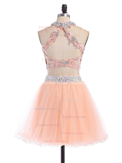 A-line Scoop Neck Short/Mini Tulle Prom Dresses with Appliques Lace #Favs020102152