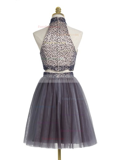 A-line High Neck Short/Mini Tulle Prom Dresses with Beading Sequins #Favs020102430