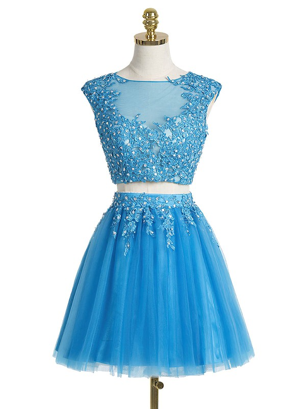 Pretty A-line Scoop Neck Tulle Short/Mini Appliques Lace Two Piece Prom Dresses #Favs020102431