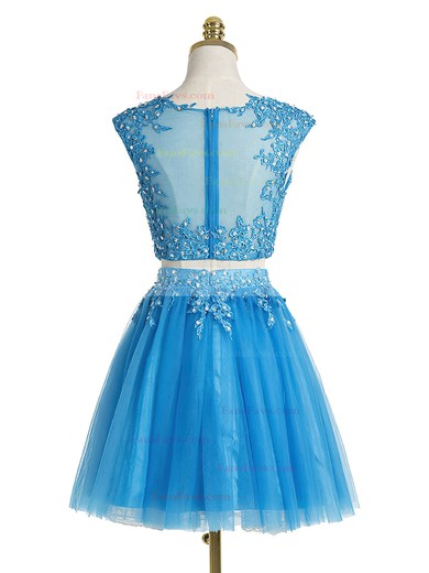 A-line Scoop Neck Short/Mini Tulle Prom Dresses with Appliques Lace Sequins #Favs020102431