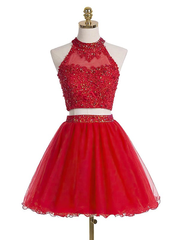 A-line High Neck Short/Mini Tulle Prom Dresses with Appliques Lace Beading #Favs020102432