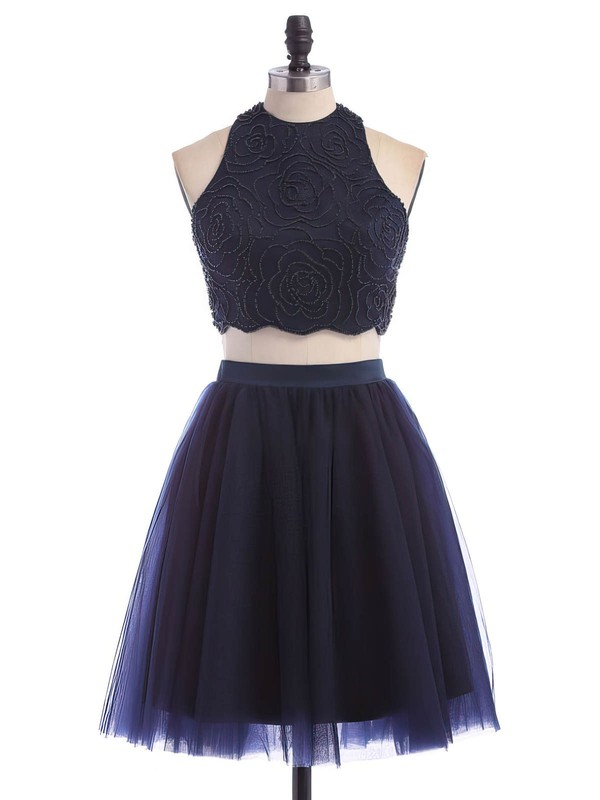 A-line Scoop Neck Tulle Short/Mini Beading Dark Navy Two Piece Prom Dress #Favs020102465